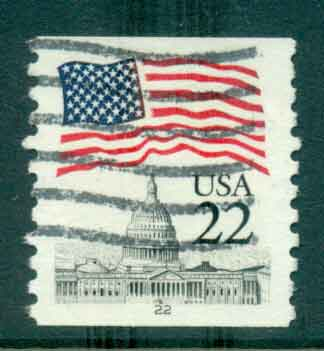 USA 1985 Sc#2115 22c Flag over Capitol Dome Coil PNS#22 FU lot47366