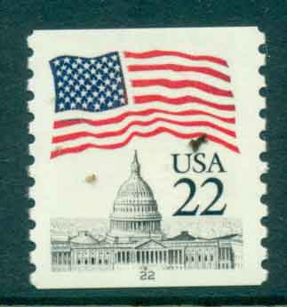 USA 1985 Sc#2115 22c Flag over Capitol Dome Coil PNS#22 FU lot47367