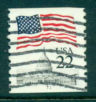 USA 1985 Sc#2115 22c Flag over Capitol Dome Coil PNS#T1 FU lot47368