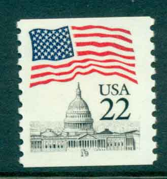 USA 1985 Sc#2115 22c Flag over Capitol Dome Coil PNS#19 MUH lot47370