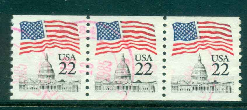 USA 1985 Sc#2115 22c Flag over Capitol Dome Coil P#11 Str 3 FU lot47372
