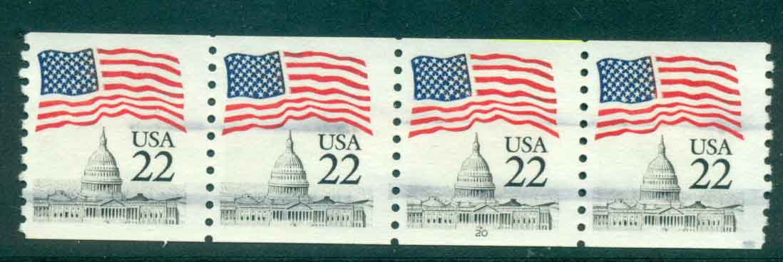 USA 1985 Sc#2115 22c Flag over Capitol Dome Coil P#20 Str 4 FU lot47373