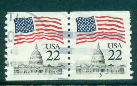 USA 1985 Sc#2115 22c Flag over Capitol Dome Coil P#3 pr FU lot47375