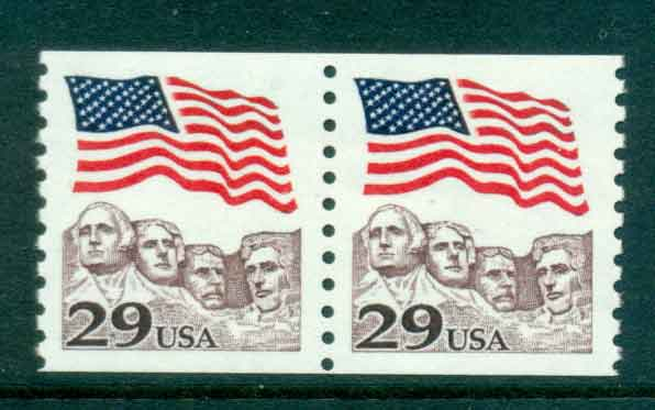 USA 1991 Sc#2523 29c Flag over Mt Rushmore Coil pr MUH lot47492