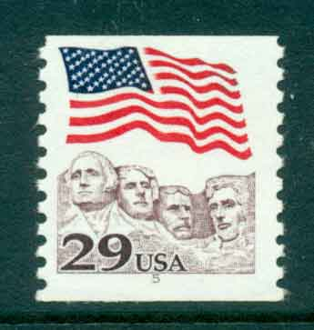 USA 1991 Sc#2523 29c Flag over Mt Rushmore Coil PNS#5 MUH lot47493