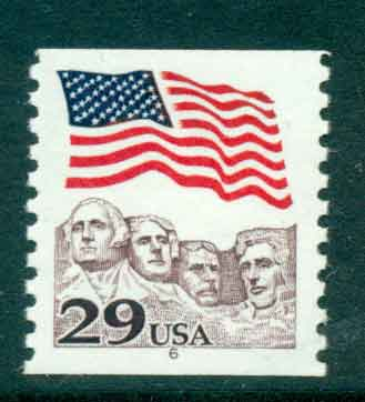 USA 1991 Sc#2523 29c Flag over Mt Rushmore Coil PNS#6 MUH lot47494