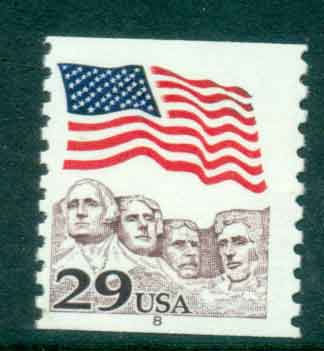USA 1991 Sc#2523 29c Flag over Mt Rushmore Coil PNS#8 MUH lot47495