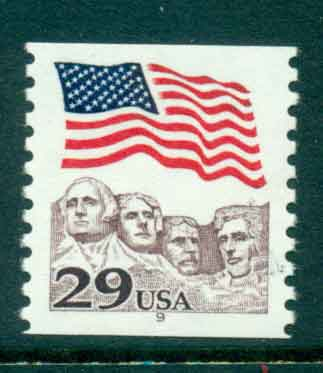 USA 1991 Sc#2523 29c Flag over Mt Rushmore Coil PNS#9 MUH lot47496