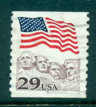 USA 1991 Sc#2523 29c Flag over Mt Rushmore Coil PNS#5 FU lot47497
