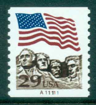 USA 1991 Sc#2523A 29c Flag over Mt Rushmore Photogravure Coil PNS#A11111 MUH lot47498