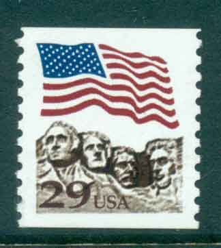 USA 1991 Sc#2523A 29c Flag over Mt Rushmore Photogravure Coil MUH lot47499
