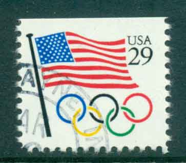 USA 1991 Sc#2528 Flag, Olympic Rings FU lot47502