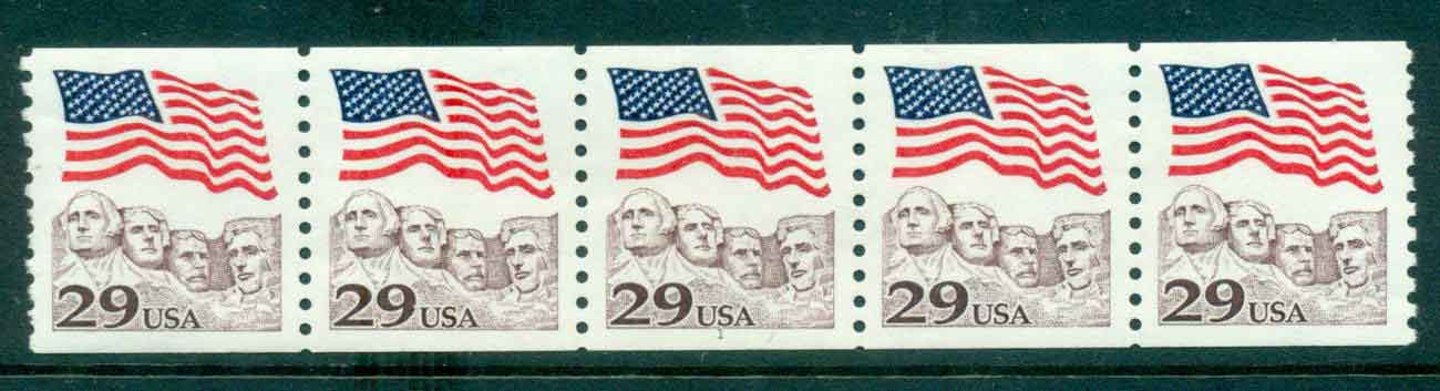 USA 1991 Sc#2523 29c Flag over Mt Rushmore Coil P#1 Str 5 MUH lot47510