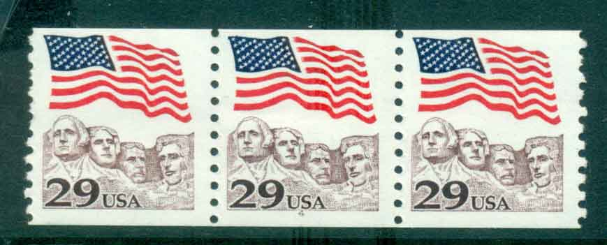 USA 1991 Sc#2523 29c Flag over Mt Rushmore Coil P#4 Str 3 MUH lot47511