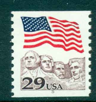 USA 1991 Sc#2523 29c Flag over Mt Rushmore Coil PNS#5 MUH lot47515
