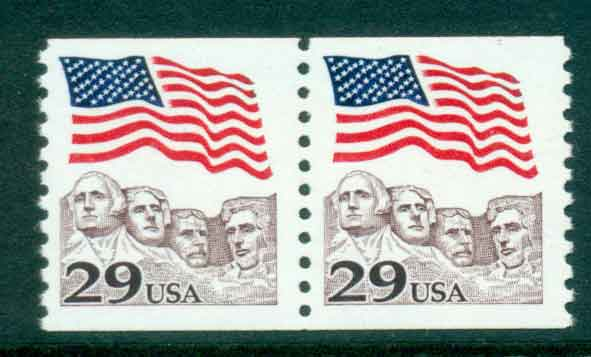 USA 1991 Sc#2523 29c Flag over Mt Rushmore Coil pr MUH lot47518