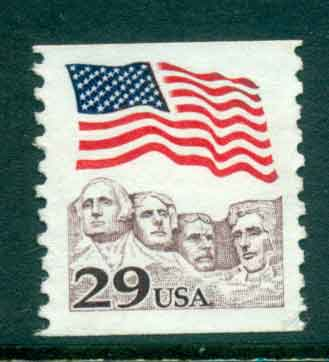 USA 1991 Sc#2523 29c Flag over Mt Rushmore Coil FU lot47519