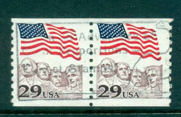 USA 1991 Sc#2523 29c Flag over Mt Rushmore Coil pr FU lot47520