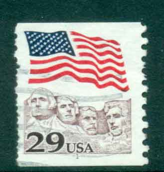 USA 1991 Sc#2523 29c Flag over Mt Rushmore Coil PNS#1 FU lot47521