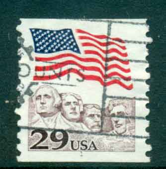 USA 1991 Sc#2523 29c Flag over Mt Rushmore Coil PNS#1 FU lot47522