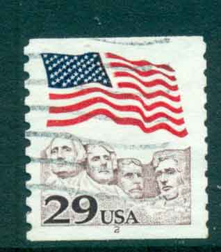 USA 1991 Sc#2523 29c Flag over Mt Rushmore Coil PNS#2 FU lot47523