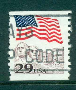 USA 1991 Sc#2523 29c Flag over Mt Rushmore Coil PNS#3 FU lot47524