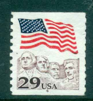 USA 1991 Sc#2523 29c Flag over Mt Rushmore Coil PNS#4 FU lot47525