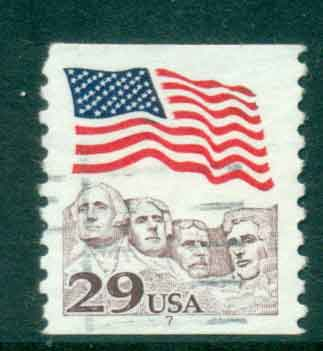 USA 1991 Sc#2523 29c Flag over Mt Rushmore Coil PNS#7 FU lot47527
