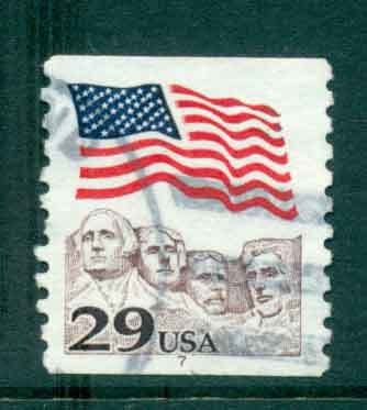 USA 1991 Sc#2523 29c Flag over Mt Rushmore Coil PNS#7 FU lot47528
