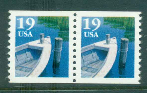 USA 1991 Sc#2529 19c Fishing Boat Coil TyI pr MUH lot47573