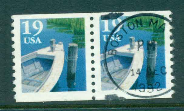 USA 1991 Sc#2529 19c Fishing Boat Coil TyI pr FU lot47575