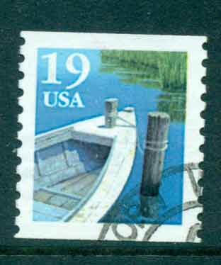 USA 1991 Sc#2529a 19c Fishing Boat Coil TyII FU lot47577