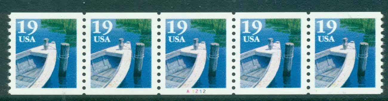 USA 1991 Sc#2529 19c Fishing Boat Coil TyI P#A1212 Str 5 MUH lot47581
