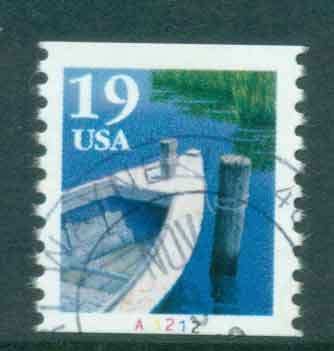 USA 1991 Sc#2529 19c Fishing Boat Coil TyI PNS#A1212 FU lot47582