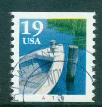 USA 1991 Sc#2529 19c Fishing Boat Coil TyI PNS#A1111 FU lot47583