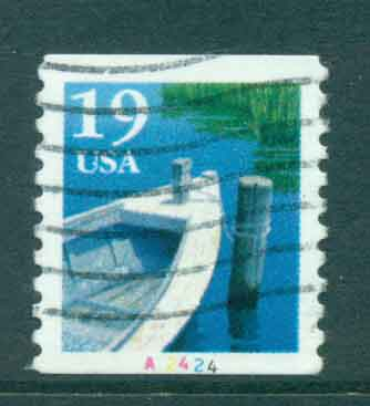 USA 1991 Sc#2529 19c Fishing Boat Coil TyI PNS#A2424 FU lot47584