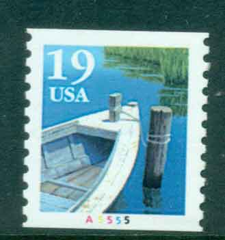 USA 1991 Sc#2529a 19c Fishing Boat Coil TyII PNS#A5555 MUH lot47585