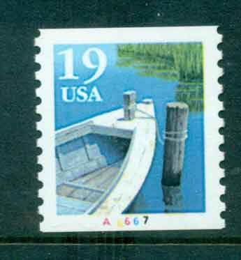 USA 1991 Sc#2529a 19c Fishing Boat Coil TyII PNS#A6667 MUH lot47586