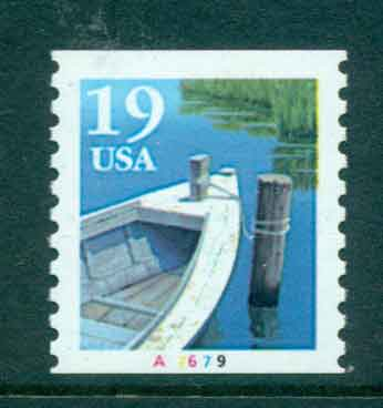 USA 1991 Sc#2529a 19c Fishing Boat Coil TyII PNS#A7679 MUH lot47587