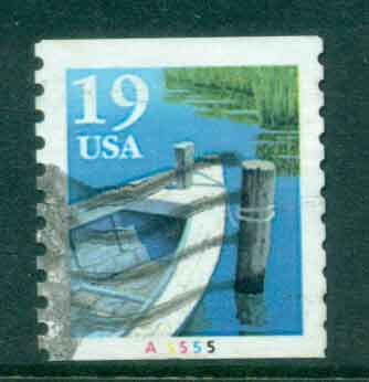 USA 1991 Sc#2529a 19c Fishing Boat Coil TyII PNS#A5555 FU lot47589