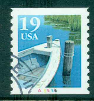 USA 1991 Sc#2529a 19c Fishing Boat Coil TyII PNS#A5556 FU lot47590