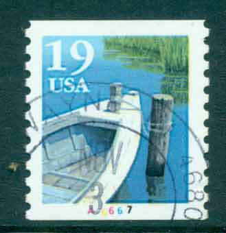 USA 1991 Sc#2529a 19c Fishing Boat Coil TyII PNS#A6667 FU lot47591