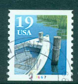USA 1991 Sc#2529a 19c Fishing Boat Coil TyII PNS#A7667 FU lot47592