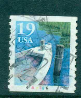 USA 1991 Sc#2529a 19c Fishing Boat Coil TyII PNS#A7766 FU lot47593