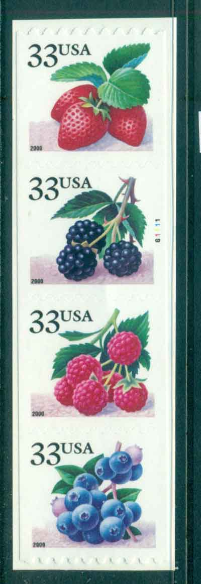 USA 2000 Sc#3404-7 Berries Coil Die cut 8.5 Str 4 P#G1111 MUH lot48785
