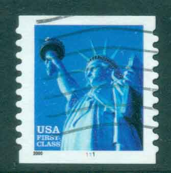 USA 2000 Sc#3453b 34c Statue of Liberty Coil P10 large date PNS#1111 FU lot48799