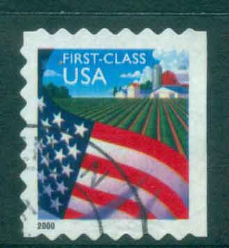 USA 2000 Sc#3449 (34c) Flag over Farm Die cut 8 FU lot48808