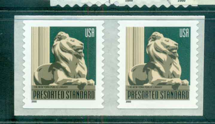 USA 2000 Sc#3447 (10c) New York Library Lion Coil pr Die cut 11.5 MUH lot48810