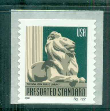 USA 2000 Sc#3447 (10c) New York Library Lion Coil Die cut 11.5 PNS#S22222 MUH lot48812