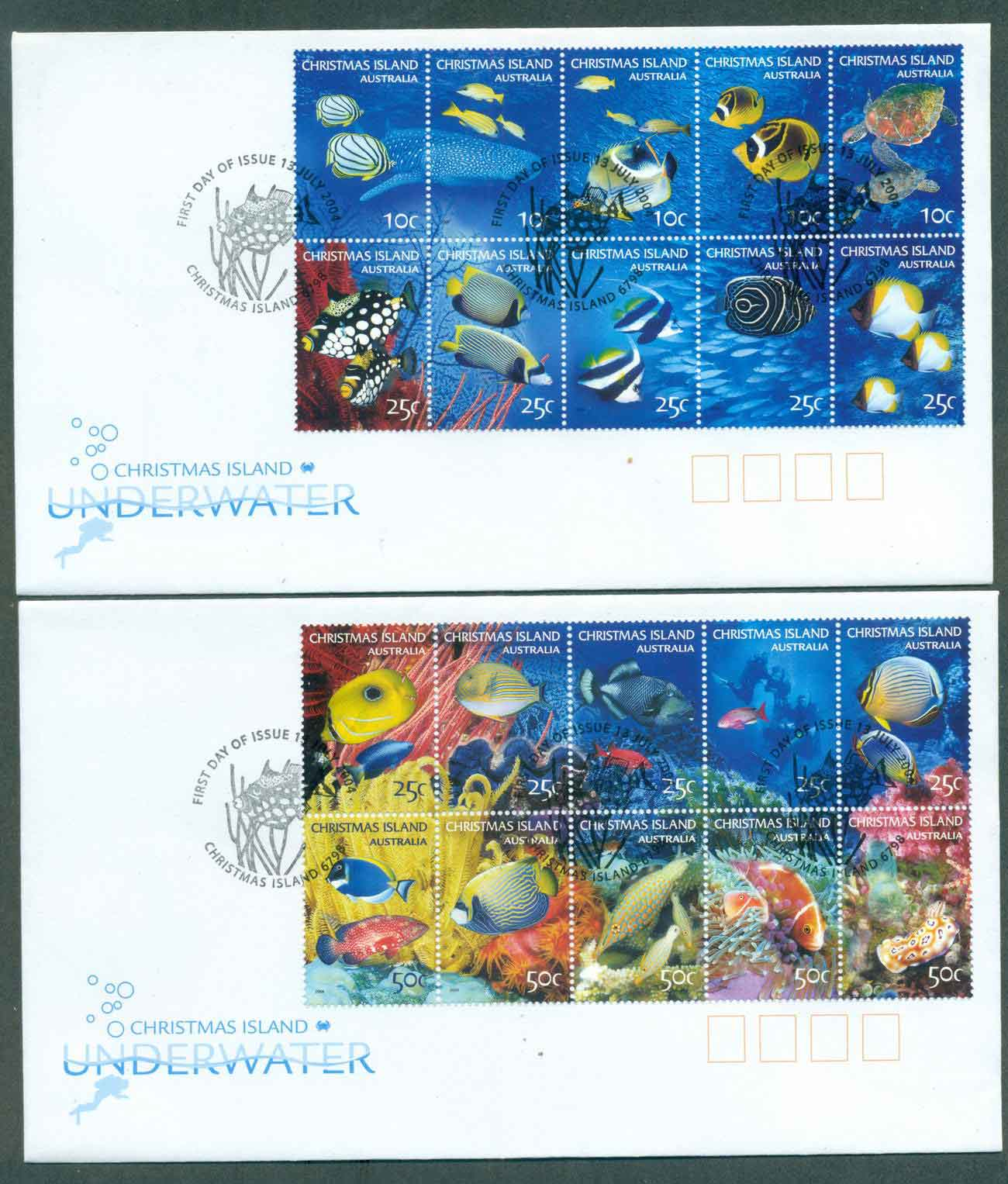 Christmas Is 2004 Underwater Marine Life ex sheetlet (2)FDC lot48989